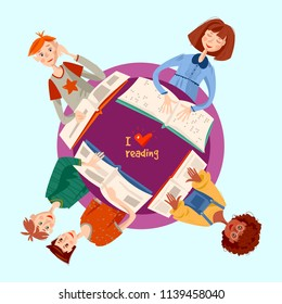 School reading club. Girls and boys sitting at the round table and reading books. Blind girl reads a book in braille. Literacy Day. Vector illustration