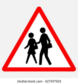 School - red triangle warning sign with black silhouettes , vector illustration
