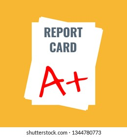 school report card with A plus grade, flat design vector illustration
