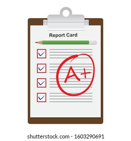 school report card with A plus grades, flat design vector illustration