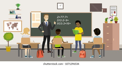 School room interior,Teacher and Pupils at the lesson,classroom with furniture,flat vector illustration.