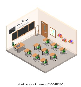 a school room for study, a classroom with desks and a school board, a modern class in isometric style