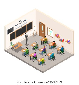 a school room for study, a classroom with desks and a school board, a modern class in isometric style, the teacher conducts an examination among schoolchildren
