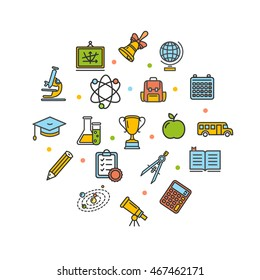 School Round Design Template Thin Line Icon Set Isolated on White Background. Vector illustration