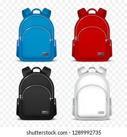 School rucksack. Kids backpacks. Front view travel bag for backpacking. 3d vector mockup isolated
