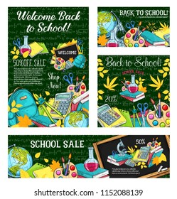 School sale special offer poster set with education supplies sketches on chalkboard background. Student book, pencil, paint and scissors, school bag, globe and microscope for promotion banner design