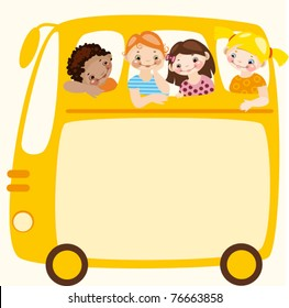School schedule. Place for your text on a yellow school bus