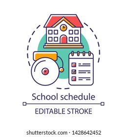 School schedule, timetable concept icon. Educational process organization idea thin line illustration. Schoolhouse, bell and notepad with notes vector isolated outline drawing. Editable stroke