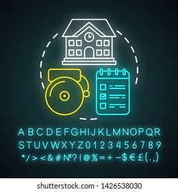 School schedule, timetable neon light concept icon. Educational process organization idea. Glowing sign with alphabet, numbers and symbols. Schoolhouse, bell and notepad vector isolated illustration