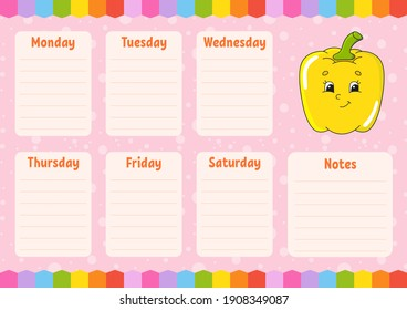 School schedule. Timetable for schoolboys. Empty template. Weekly planer with notes. Isolated color vector illustration. Cartoon character.