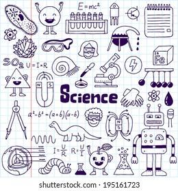 School science doodle set 1 notebook. Hand drawn vector illustration.