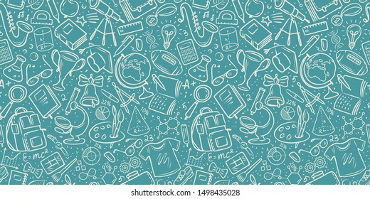 School seamless background. Education, science concept. Vector illustration