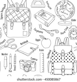 School Seamless pattern. Backpack, pen, pencil, ruler, marker, globe, alarm clock, notebook, book, apple, camera, protractor, scissors. Vector black and white illustration.