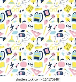 School seamless pattern, study objects