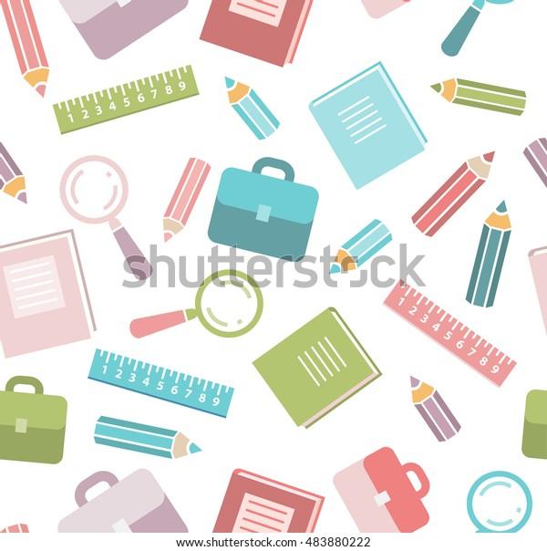 School Seamless Pattern School Supplies Education Stock