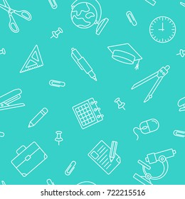 School seamless pattern. Tiling textures with thin line icon set