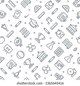 School Seamless Vector Pattern. Learning Texture Background.