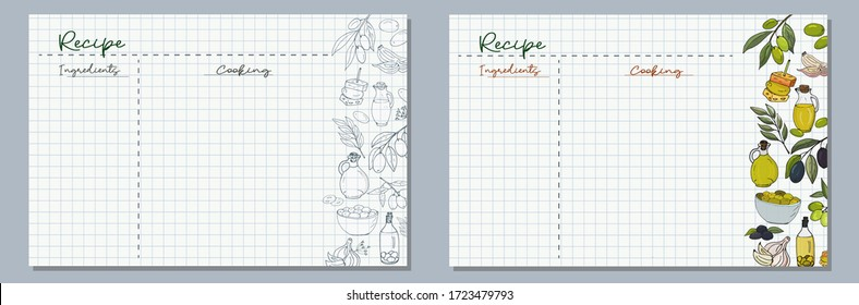 School sheets of paper with hand-drawn olives, an olive branch, olive oil in a jug and in a bottle, a dish with olives and canapes in monochrome and color for writing delicious recipes for your dishes
