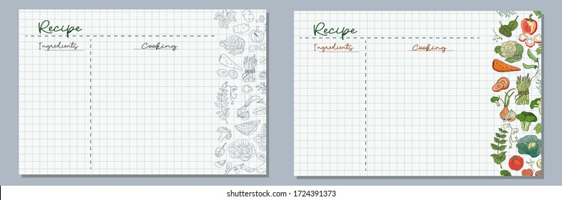 School sheets of paper with images of vegetables cabbage, tomatoes, asparagus, broccoli, onions, carrots for writing delicious recipes for your dishes