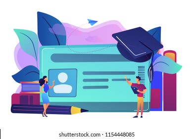 School smart card with photo and users. Student profile and school attendance, student identification with microchip, school access and payment concept, violet palette. Vector isolated illustration.