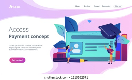 School smart card with photo and users. Student profile and school attendance, student identification with microchip, school access and payment concept, violet palette. Website landing web page