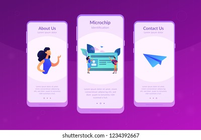 School smart card with photo and users. Student profile and school attendance, student identification with microchip, school access and payment concept, violet palette. UI UX GUI app interface