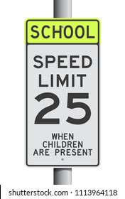 School Speed Limit road sign on post