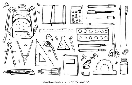 School stationery. Hand drawn outline doodle sketch vector objects set. Backpack, pens, notepads writing materials, scissors, brushes, paints, rulers, compass'. Black on white background