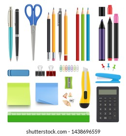 School stationery. Pencil sharp pen eraser calculator knife and stapler vector realistic collection. Illustration of school stationery, calculator and stapler, eraser and crayon
