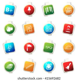 School stickers label icon set for web sites