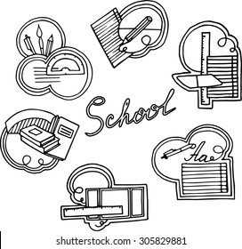 School stickers. Set of six black and white hand drawn sketches