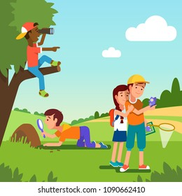 School student kids doing summer nature research project. Boy look at anthill with magnifier. Boy sitting on tree watching through binoculars. Kids watching butterfly. Flat vector illustration