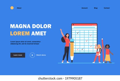 School students at blackboard. Girls and young woman holding huge pencils, raising hands flat vector illustration. Education, training course concept for banner, website design or landing web page