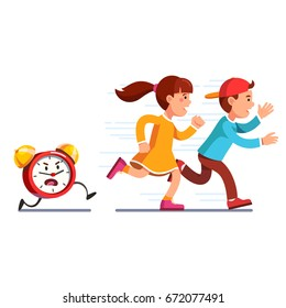 School students children boy, girl running away from angry alarm clock. Kids being late for lesson. Table watch chasing scared pupils. Time to learn concept. Flat vector illustration isolated on white