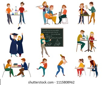 School students during chemistry, geography, physical training, music, teacher near board, graduates, cartoon set isolated vector illustration