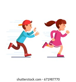 School students kids having fun playing catch-up and tag game. Preschool boy in baseball cap running fast & chasing girl in pink dress. Flat style vector illustration isolated on white background.