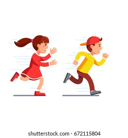 School students kids having fun playing catch-up and tag game. Preschool girl running fast & chasing boy in baseball cap. Flat style vector illustration isolated on white background.