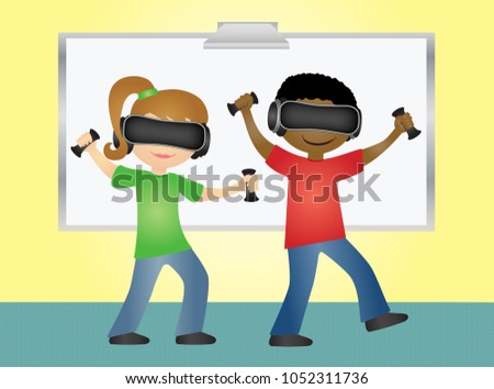 f577b33c4b2b School students playing virtual reality game with glasses and hand  controllers