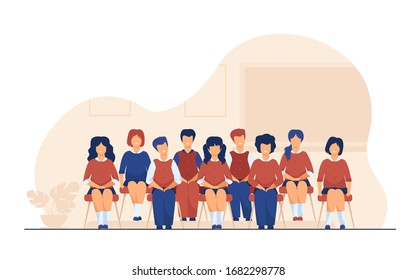 School students posing for class portrait in classroom. Teen girls and boys wearing uniform, sitting on chairs in rows and smiling. Vector illustration for photo, classmates, education concept