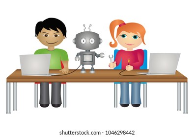 School students with robot and laptop computers