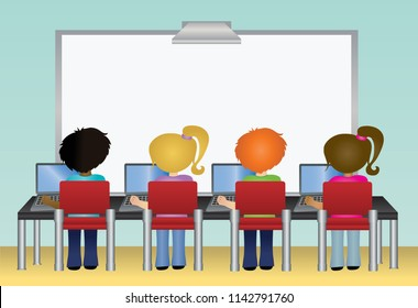 School students using laptop computers in classroom with interactive whiteboard