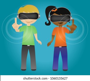 School students wearing virtual reality headset while touching hologram