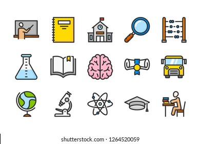 School and study color line icons. Education and learning vector linear colorful icon set. Isolated icon collection on white background.