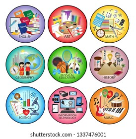School subject icons - English, Art, Mathematics, Geography, Physical Education, History, Science, Information Technology and Music.