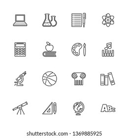 School Subject, Learning outline icons set - Black symbol on white background. School Subject, Learning Simple Illustration Symbol - lined simplicity Sign. Flat Vector thin line Icon - editable stroke