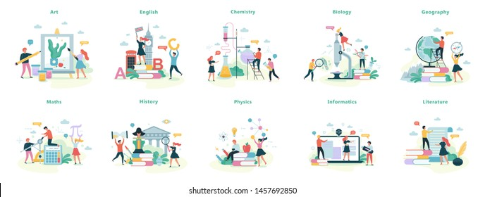 School subject set. Idea of education and science. Biology, chemistry and maths. Isolated vector illustration in cartoon style