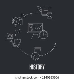 School subjects design concept. History. Black background with education icons.
