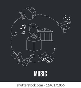School subjects design concept. Music education. Black background with education icons.