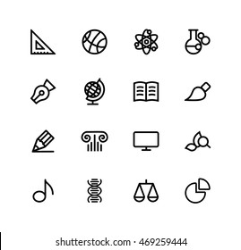 school subjects and discipline, mathematics, sports, physics, chemistry, spelling, geography, literature, drawing, history, computer science, botany, music, biology, law, set of vector icons
