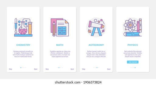 School subjects, education vector illustration. UX, UI onboarding mobile app page screen educational set with line natural science, chemistry mathematics astronomy physics knowledge schooling symbols